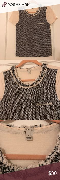 J. Crew Tweed T-shirt This precious tweed t-shirt from J. Crew is a comfy option for work! Pair it with black ankle pants for a chic look! J. Crew Tops Tees - Short Sleeve