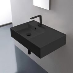 Scarabeo 5117 By Nameek's Teorema 2 Rectangular Ceramic Wall Mounted or Vessel Sink With Counter Space - TheBathOutlet Black Bathroom Sink, Small Bathroom, Master Bathroom, Bathroom Ideas, Bathroom Organization, Bathroom Storage, Zen Master, Master Baths, Bathroom Makeovers
