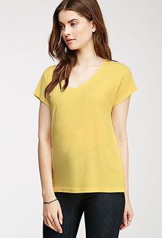 Ribbed-Neckline Tee | Forever 21 Canada