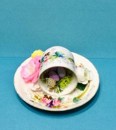 Coffee Cups And Saucers, Cup And Saucer, Tea Cups, Fake Flowers, Vintage Tea, Nest, Shabby Chic, Great Gifts, Etsy Shop