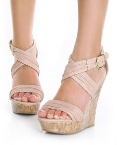 Nude wedge sandals~ love the shoes K WANT