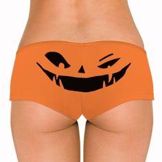 Pumpkin butt! Get these cute and sexy undies to wear on Halloween. This winking jack-o-lantern underwear will be a spooky surprise for your man. Halloween underwear, undies, panties, and thongs. #halloween #underwear