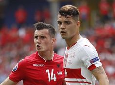 Granit Xhaka and Taulant Xhaka the first brothers to face each other in UEFA Euros Granit Xhaka, Two Brothers, Football Team, Battle, Soccer, Baseball Cards, Sheik, Face, Sports