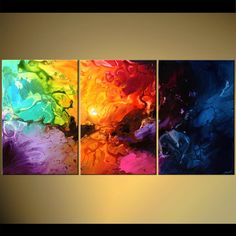 Original abstract art paintings by Osnat - colorful modern abstract triptych canvas