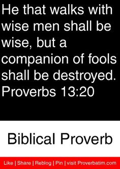 He that walks with wise men shall be wise, but a companion of fools shall be destroyed. Proverbs 13, Proverbs Quotes, Positive Quotes, Motivational Quotes, Inspirational Quotes, Cool Words, Wise Words, Great Bible Verses, Knowledge And Wisdom