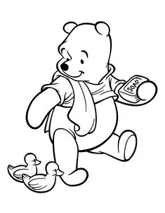 Download and Print winnie the pooh coloring page take a shower