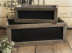 Chalkboard Planter Box Set Get creative with these chalkboard planters. I would fill with herbs and place in the kitchen.