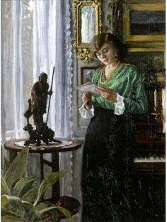Lendo a carta, 1914  Paul Gustave Fischer ( Dinamarca, 1860-1934) óleo sobre tela