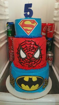 Superhero Cake Theme. I made this cake for my friend sons 5th Birthday Party.