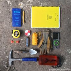 An archaeologist's field kit featuring our large side-spiral 373-MX notebook - everydaycarry.com