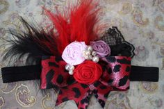 Leopard Headband Valentines Hair Accessory by AldonasBoutique, $24.50