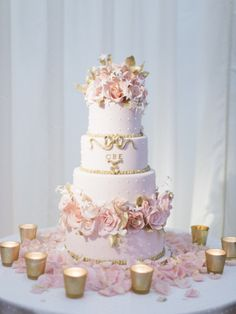 Glam pink princess cake: http://www.stylemepretty.com/2014/05/23/glamorous-pink-english-wedding/ | Photography: Polly Alexandre - http://alexandreweddings.com/