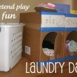 Easy, fun, and cheap pretend play for the play room. Can probably so with smaller boxes.