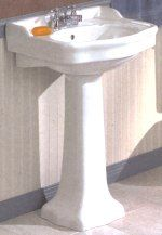 A sink upgrade is low priority on the budget list, but a pedestal would look great in our bathroom.