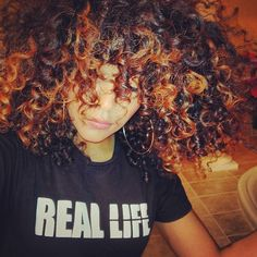 Brown//Black curly hair