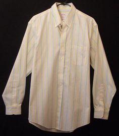 Brooks Brothers Dress Shirt Yellow Medium Striped Button Up Non Iron Long Sleeve