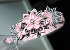 Pink/gray girl headband Kanzashi flower by MagaroCreations