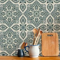 This large stencil pattern makes a great accent wall with ties to Portuguese and Spanish azulejos tiles. Tile wallpaper patterns for DIY home decor Wallpaper Stencil, Stencil Painting On Walls, Faux Painting, Wall Stencil Patterns, Stencil Designs, Kitchen Wallpaper Patterns, Spanish Tile Kitchen, Mexican Tile Kitchen, Spanish Bathroom