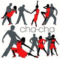 Cha-cha Dancers Silhouettes Set