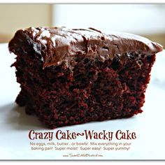 Crazy Chocolate Cake  1½ Cups flour   3 Tbsp. cocoa (unsweetened)   1 Cup white sugar   1 tsp. baking soda   ½ tsp. salt   1 tsp. white vinegar   1 tsp. pure vanilla extract   5 Tbsp. vegetable oil   1 Cup water