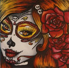"""Day of the Dead """" Autumn"""" Stretched canvas print 16 by 16  in  Art Rockabilly Pin Up girl Hair Dia De Los Muertos  Lowbrow Tattoo on Etsy, $69.00"""