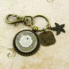 Sand Dollar Shell Keychain / Purse Charm / Zipper Pull Jewelry with Beach Sand and Seashell from Sanibel Florida by FloridaShellGirlShop on Etsy