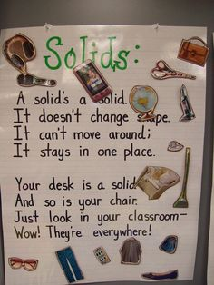 I made these charts to help the students review what a solid, liquid, and gas is.  I cut out different pictures from a magazine and laminat...