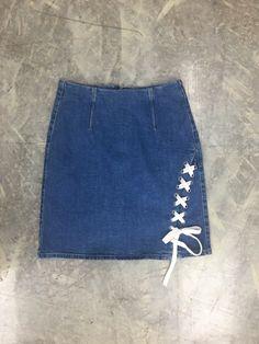 Denim skirt, lace detail, rope, jeans, spring18, customized denim, h4jeans