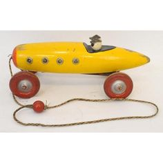 Ted Toy wooden pull toy racer with clacker Wooden Wheel, Pull Toy, Old Toys, Battery Operated, 1920s, Trains, Old Things, Antiques, Metal