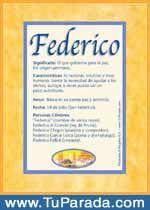 Federico - Nombres, El significado de los nombres, Tu nombre, Tarjetas postales TuParada.com