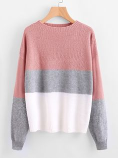 Multicolor Color Block Drop Shoulder Textured Sweater