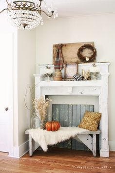 Thoughts from Alice: Rustic Fall Mantel Vignette