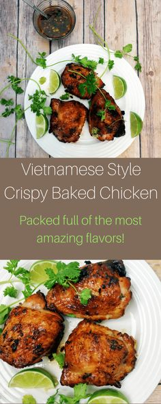 Need a new idea for that chicken? This Vietnamese style baked chicken with crispy skin is packed full of flavor and super simple to make! Vietnamese Style Baked Chicken with Crispy Skin Easy Vietnamese Recipes, Asian Recipes, Healthy Recipes, Ethnic Recipes, Vietnamese Food, Baked Garlic Chicken, Bo Bun, Baked Chicken Recipes, Recipe Chicken