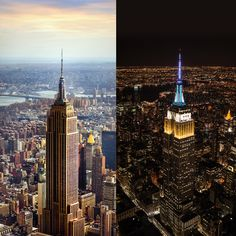 Nyc Skyline, Empire State Building, Light Up, New York, America, Night, Street, Early Morning, Travel