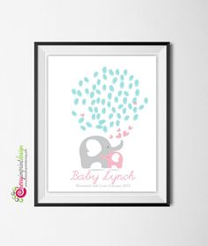 Baby Sprinkle Mom and Baby Elephant by CherryImprintDesign on Etsy