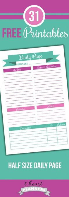 Half size (or A5) daily planner printable that includes a place to keep to track of money spent each day. This is perfect for half size planners in the junior discbound size or A5 filofax.