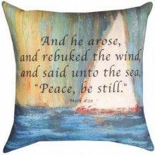 Pillow-White Sail/Peace Be Still-Indoor/Outoor Cli White Pillows, Throw Pillows, Nautical Theme Decor, Color Blending, Christian Women, Home Decor Outlet, Sailboat, Pillow Shams, Be Still