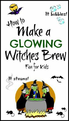 Halloween party kid friendly activity that results in cool party decor - steaming glow in the dark witches brew