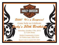 Harley Davidson Birthday Party Invitations Harley Davidson