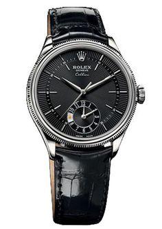 Rolex Cellini Dual Tiempo Blanco Oro reloj 50529 bkbk