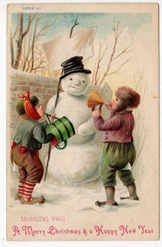 #Christmas #children #snowman #snow #vintage #postcard