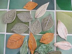 cute for hanging in the window, christmas tree ornaments, or make into magnets! Mosaic Art, Mosaic Tiles, Mosaics, Handmade Tiles, Handmade Pottery, Mosaic Outdoor Table, Outdoor Tables, Hand Built Pottery, Leaf Shapes