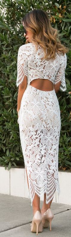 Lace & Locks White Lace Midi Dress