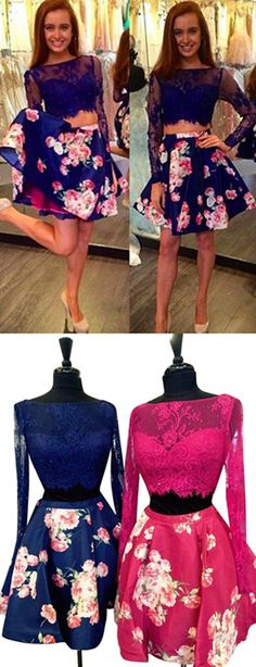 Two Pieces Homecoming Dresses, Homecoming Dress,2 Pieces Prom Gown,Two Piece Cocktail Dresses,Sweet 16 Gowns