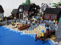Durnovaria Lego Village, Lego 4, Lego Architecture, Medieval Castle, Lego Building, Lego City, Pirates, Minecraft, Table Decorations