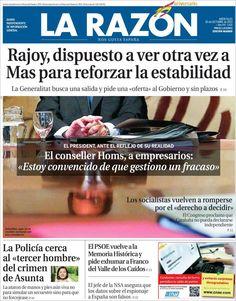 Los Titulares y Portadas de Noticias Destacadas Españolas del 30 de Octubre de 2013 del Diario La Razón ¿Que le pareció esta Portada de este Diario Español?