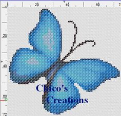 Blue Butterfly Cross Stitch Pattern