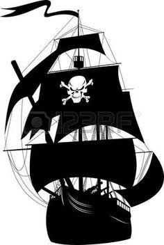 Silueta de un barco pirata con la imagen de un esqueleto en la vela;  Vectores