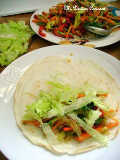 Simplemente Cocinera: Crepes Ligeros de Harina de Arroz con Relleno de Verduras Salteadas...un plato de Oriente bien Light en mi mesa!
