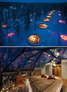 Kakslauttanen Arctic Resort, Finland. Romantic glass igloos with a view of the Northern Lights, Amazing!